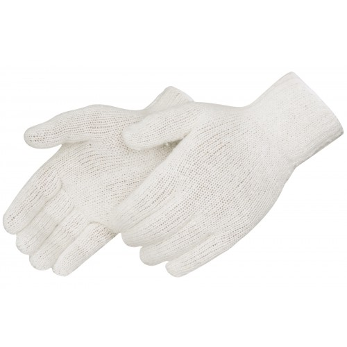 Standard weight string knit gloves, natural white cotton/polyester, seamless,  reversible pattern, knit wrist, size Large