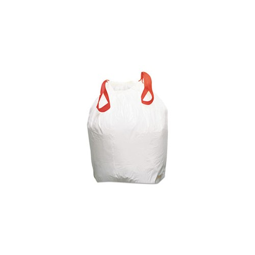 Drawstring Trash Can Liner, Fits 13gal size trash cans. 24 x 28.  WHITE, 25/Roll, 300/case, DRAWSTRING BAG
