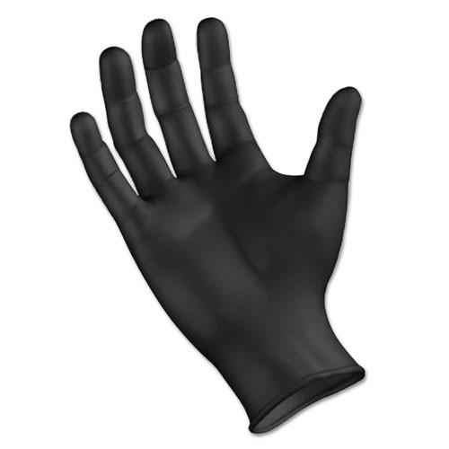 PPE*Disposable General-Purpose Nitrile Gloves, Black, LARGE, 100/bx