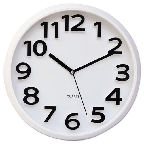 """Round Wall Clock, White, 13"""""""