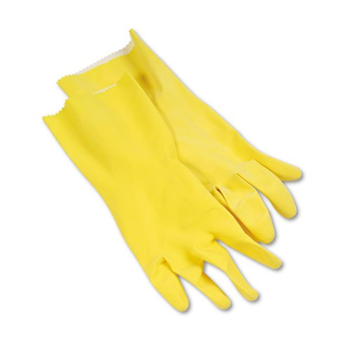 Gloves - Yellow Flock Lined Pair, Medium