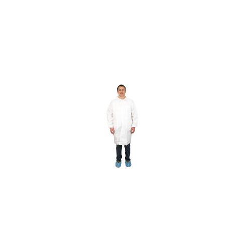Lab Coat, Microporous, Breathable Barrier, Size: Large, White, 30/case
