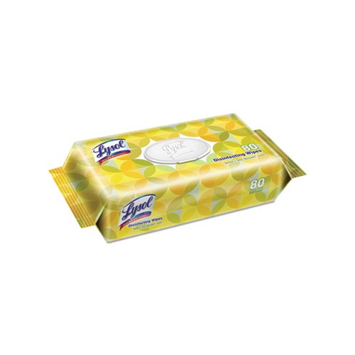 Lysol Disinfecting Wipes Flatpacks, 6.75 x 8.5, Lemon and Line Blossom, 80wipes/flat pack