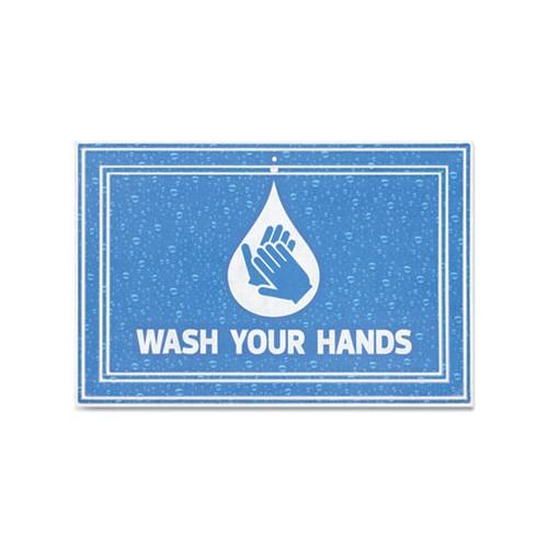 """Message Floor Mats, 24 x 36, Blue, """"Wash Your Hands"""""""
