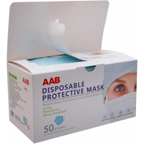 AAB Protective Face Mask, w/Ear Loops, 50/Box
