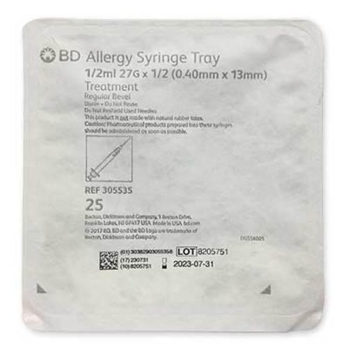 "BD Allergist Tray 1/2cc 27G x 1/2"" Regular Bevel 25/Tray"