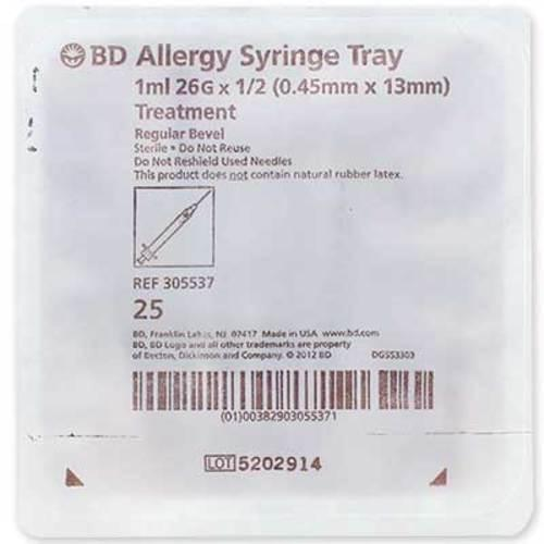 "BD Allergist Tray 1/2mL 26G x 1/2"" Regular Bevel"