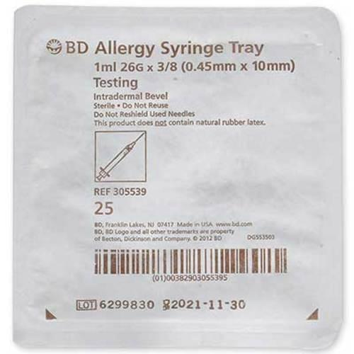 "BD Allergist Tray 1mL 26G x 3/8"" Intradermal Bevel"