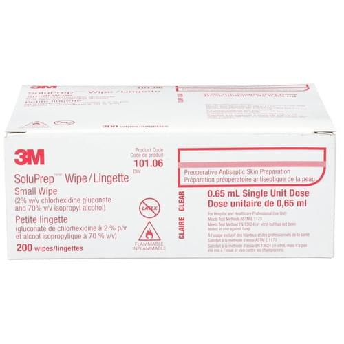 <p>3M™ SoluPrep™ Sponge 101.06 (2% w/v chlorhexidine gluconate and 70% v/v isopropyl alcohol) is a skin antisepsis used prior to invasive procedures and to reduce bacteria on the skin, diminishing the risk of surgical site infection.</p> <p><strong>Details</strong></p> <ul> <li>For Hospital and Healthcare professional use only </li> <li>Persistence up to 24 hours</li> <li>Latex-free</li> </ul>
