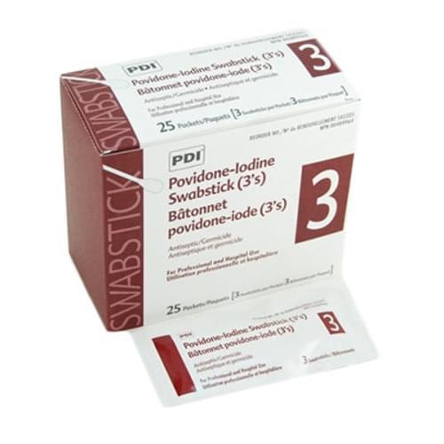 <ul> <li>Antiseptic swabsticks saturated with a 10% Povidone-Iodine solution</li> <li>3 swabs/package</li> <li>25 packages/box</li> </ul>