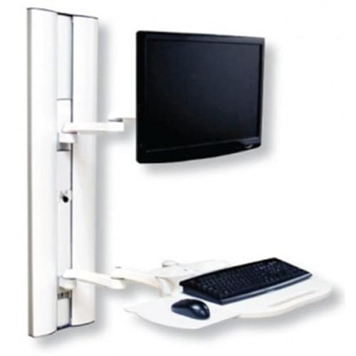 Computer Work Station with Adjustable Height Channel