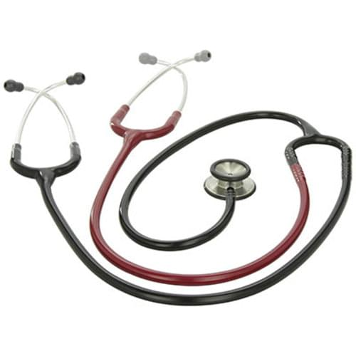 "<li>A long length of 40""/102cm and two headsets for simultaneous auscultation makes it an ideal educational tool <li>Tunable diaphragm allows you to hear low and high frequency sounds by simply applying light or firm pressure on one side of the stethoscope. The other side can be used as a traditional bell <li>7/10 on the performance scale <li>3 year warranty"