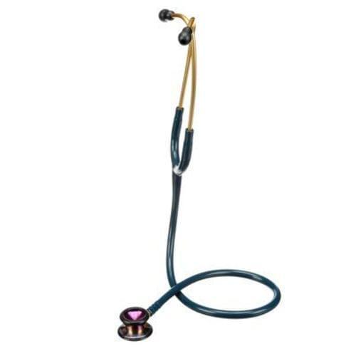 "<p>Specially designed for use on pediatric patients, the 3M™ Littmann® Classic II Pediatric Stethoscope has a small 3.3 cm diaphragm on a dual-sided chestpiece that delivers high acoustic sensitivity, for both high and low frequency sounds.</p> <p><strong>Details</strong></p> <ul> <li>1"" (2.54 cm) traditional bell on one side for lower frequencies</li> <li>Patented floating diaphragm on one side for higher frequencies</li> <li>Non-chill rim and diaphragm</li> <li>Comfortably angled, anatomically correct headset</li> <li>Available in a variety of tube colours and chestpiece finishes</li> <li>Comfortable</li> <li>Durable design</li> <li>Three-year warranty</li> </ul> <p><strong>Specifications</strong></p> <ul> <li>Binaural Construction: Single Lumen</li> <li>Chestpiece Finish: Rainbow</li> <li>Chestpiece Technology: Double-Sided</li> <li>Chestpiece Weight: 1.4 Ounce (40 g)</li> <li>Diaphragm Diameter: 1.31"" (3.3 cm)</li> <li>Diaphragm Material: Epoxy/Fiberglass</li> <li>Headset Material: Wide diameter aerospace alloy/anodized aluminum</li> <li>Overall Length: 28"" (71 cm)</li> <li>Performance: 7</li> <li>Special Adaptors: No</li> <li>Tube Colour: Caribbean Blue</li> <li>Warranty: 3 Years</li> </ul>"