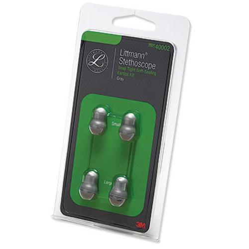 <li>2 Two pairs of ear tips <li>Large & small <li>Gray