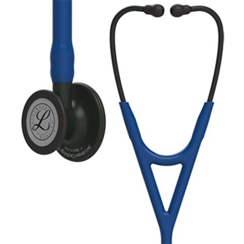 Littmann® Cardiology IV Stethoscope, Black CP Finish, Navy Blue Tube, 27""
