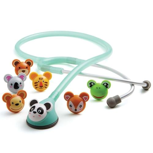 "<p>The ADC Adscope 618 pediatric stethoscope combines the acoustic response of a traditional bell and diaphragm in a convenient, one-sided chestpiece with seven distinctive, snap-on animal faces. The chestpiece features our adjustable frequency (AFD) technology, allowing you to tune the diaphragm to enhance both high- and low-frequency response. The clinician headset has lightweight aluminum binaurals and a reinforcing yoke molded into flexible 22-inch PVC tubing. The colourful molded-resin animal faces come in Panda, Koala, Monkey, Bear, Frog, Deer, and Tiger designs.</p> <p><strong>The Best Design and the Finest Components</strong></p> <p>ADC products are manufactured from the finest materials with an uncompromising commitment to craftsmanship and durability. They offer proprietary features not found anywhere else, like gasket-sealed chestpieces, Adsoft Plus silicone eartips, the Adcuff with Size Guide marking system, and our remarkable gauge movements. Compare the quality and performance - and most importantly, the value - and you'll discover the ADC difference.</p> <p><strong>Rigorous Quality Control</strong></p> <p>We subject virtually every component to rigorous quality control checks using custom-built testing equipment like gauge endurance machines, valve-and-bladder leak test machines, and thermometer baths. These ensure the parts used in our products meet or beat the toughest national and international standards on the mark today. As part of our commitment to quality, ADC has earned and maintains certification to the ISO 013485 quality management system standard, specifically written for medical device manufacturers.</p> <p><em>ADC's newest pediatric scope boasting AFD technology and a fresh face!</em></p> <p><strong>Features</strong></p> <ul> <li>Distinctive molded-resin animal face chestpiece optimally sized (1½"") for pediatric use</li> <li>ADC's AFD technology design switches between low, bell-like frequency and high, diaphragm-like frequency simply by altering pressure</li> <li>Non-chill bell and diaphragm retaining rim for patient comfort</li> <li>Clinical headset boasts reinforcing yoke molded into the flexible 22"" PVC tubing</li> <li>Tubing is soft and flexible and has been made without phthalates since 2014</li> <li>Lightweight aluminum binaurals in matching satin finish</li> <li>Adsoft<sup>™</sup> Plus silicone eartips with new snap-on connection for the ultimate in wearing comfort and acoustic seal</li> <li>Seven interchangeable animal face snap-ons included: <ul> <li>Panda</li> <li>Frog</li> <li>Koala</li> <li>Deer</li> <li>Monkey</li> <li>Tiger</li> <li>Bear</li> </ul> </li> <li>Weighs: 3 oz</li> <li>Overall length 30""</li> <li>Lifetime warranty</li> </ul> <p><strong>Specifications</strong></p> <ul> <li>Chestpiece Weight: 0.88 oz (24.9 g)</li> <li>Diaphragm Diameter: 1 1/2"" (3.8 cm)</li> <li>Tubing Length: 21"" (53 cm)</li> <li>Total Length: 30"" (76 cm)</li> <li>Total Weight: 3 oz (85 g)</li> <li>Warranty: Lifetime</li> </ul>"