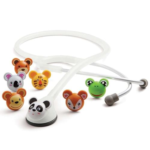 """<p>The ADC Adscope 618 pediatric stethoscope combines the acoustic response of a traditional bell and diaphragm in a convenient, one-sided chestpiece with seven distinctive, snap-on animal faces. The chestpiece features our adjustable frequency (AFD) technology, allowing you to tune the diaphragm to enhance both high- and low-frequency response. The clinician headset has lightweight aluminum binaurals and a reinforcing yoke molded into flexible 22-inch PVC tubing. The colourful molded-resin animal faces come in Panda, Koala, Monkey, Bear, Frog, Deer, and Tiger designs.</p> <p><strong>The Best Design and the Finest Components</strong></p> <p>ADC products are manufactured from the finest materials with an uncompromising commitment to craftsmanship and durability. They offer proprietary features not found anywhere else, like gasket-sealed chestpieces, Adsoft Plus silicone eartips, the Adcuff with Size Guide marking system, and our remarkable gauge movements. Compare the quality and performance - and most importantly, the value - and you'll discover the ADC difference.</p> <p><strong>Rigorous Quality Control</strong></p> <p>We subject virtually every component to rigorous quality control checks using custom-built testing equipment like gauge endurance machines, valve-and-bladder leak test machines, and thermometer baths. These ensure the parts used in our products meet or beat the toughest national and international standards on the mark today. As part of our commitment to quality, ADC has earned and maintains certification to the ISO 013485 quality management system standard, specifically written for medical device manufacturers.</p> <p><em>ADC'snewest pediatric scope boasting AFD technology and a fresh face!</em></p> <p><strong>Features</strong></p> <ul> <li>Distinctive molded-resin animal face chestpiece optimally sized (1½"""") for pediatric use</li> <li>ADC's AFD technology design switches between low, bell-like frequency and high, diaphragm-like frequency simply by a"""