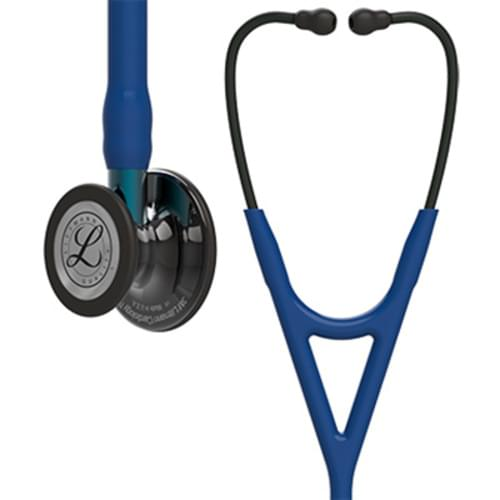 3M Littmann Cardiology IV Stethoscope, High Polish Smoke-Finish Chestpiece, Navy Tube, Blue Stem and Black Headset, 6202