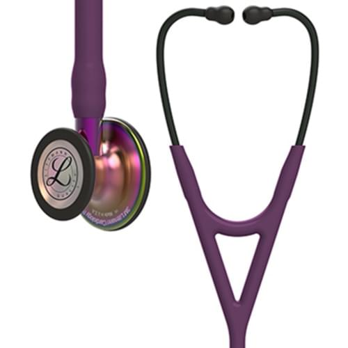 3M Littmann Cardiology IV Stethoscope, Rainbow-Finish Chestpiece, Plum Tube, Violet Stem and Black Headset, 27 inch, 6205