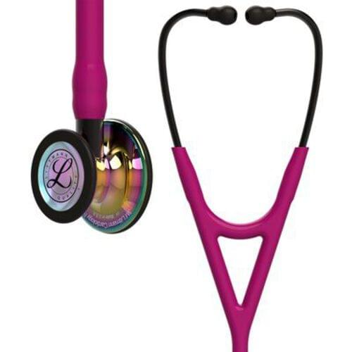 Littmann® Cardiology IV Stethoscope, Rainbow CP Finish, Raspberry Tube, Smoke Stem, 27""