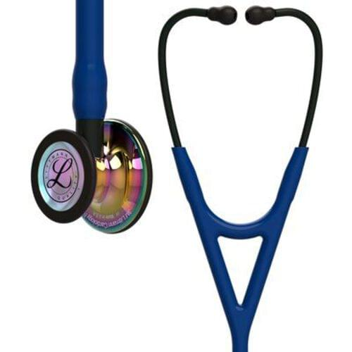 Littmann® Cardiology IV Stethoscope, Rainbow CP Finish, Navy Tube, Black Stem, 27""