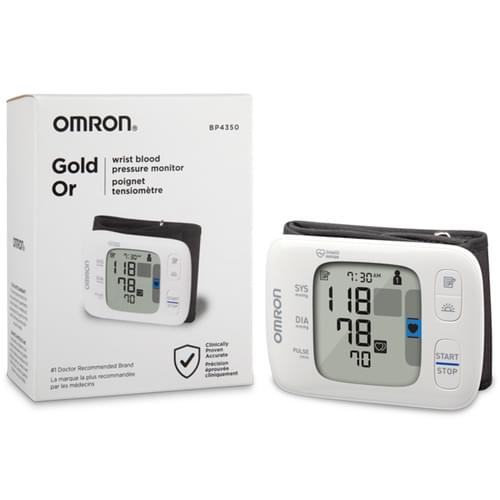 """<p>The OMRON Gold Wireless Bluetooth Wrist home blood pressure monitor features a lightweight, slim, portable design so you can check your blood pressure - even on the go. The Gold Wrist Monitor stores up to 200 readings for two users (100 each) or unlimited readings when used with the free OMRON Connect app, allowing you to keep a comprehensive recording of your readings over time and monitor any fluctuations in your readings. The app also lets you view your trend graphs and charts, and share as needed with your family, caregivers or healthcare professionals. The OMRON Connect app works with select iOS and Android devices, as well as with Amazon Alexa-enabled devices using the OMRON Health Skill.</p> <p><strong>Features</strong></p> <ul> <li>UltraSilent Inflation <ul> <li>For quick and quiet measurements that can be taken conveniently and discreetly</li> </ul> </li> <li>Wireless Bluetooth Convenience <ul> <li>To sync to the OMRON Connect app on your iOS or Android devices and the OMRON Health Skill for Amazon Alexa enabled devices</li> </ul> </li> <li>Heart Zone Guidance <ul> <li>Helps guide your wrist to heart level, the proper heigh for consistent and precise readings</li> </ul> </li> <li>Morning Hypertension Indicator and Averaging <ul> <li>Calculates your daily morning average blood pressure and alerts you with a """"HIGH"""" symbol on the display if your systolic blood pressure measures 130 mmHg or above, and/or your diastolic blood pressure measures 80 mmHg or above</li> </ul> </li> <li>Two-User Mode, 200 Reading Storage <ul> <li>Accommodates two users, storing up to 200 readings (100 readings per user) on one device</li> </ul> </li> <li>Cuff Wrap Guide <ul> <li>Alerts you if the cuff is wrapped too loosely on your wrist</li> </ul> </li> <li>Dimensions <ul> <li>Length: 0.5""""</li> <li>Width: 3.6""""</li> <li>Height: 2.5""""</li> <li>Weight: 3.2 oz</li> </ul> </li> </ul>"""