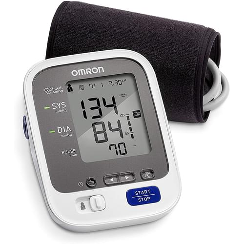 "<p>The Omron 7 Series plus wireless Bluetooth Smart connected home blood pressure monitor has all the features of our 7 Series monitor and more.</p> <p><strong>Features</strong></p> <ul> <li><strong>Advanced Accuracy</strong>: Our most precise home blood pressure monitor ever, to help ensure consistent, precise readings.</li> <li><strong>Multi-Color Indicator Lights</strong>: View lights at a glance to determine if your reading is in the normal (green) or Hypertension range (orange.)</li> <li><strong>BP Level Bar</strong>: Displays how your reading compares to normal home blood pressure levels.</li> <li><strong>Easy-Wrap Cuff</strong>: Expanded coverage cuff inflates around the entire arm to avoid incorrect cuff positioning.</li> <li><strong>ComFit Cuff</strong>: The pre-formed cuff expands to fit standard and large arms (9"" to 17"") for a more comfortable reading.</li> </ul> <p><strong>Includes</strong></p> <ul> <li>Main Unit</li> <li>ComFit Cuff (9"" - 17"")</li> <li>4 AA Batteries</li> <li>Instruction Manual</li> <li>Quick Start Guide</li> </ul>"