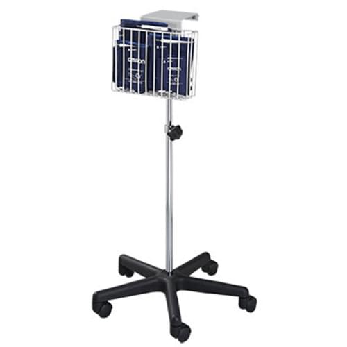 Take the Omron HEM-907 easily from patient to patient while storing all accessories in the attached basket using the Mobile Stand.