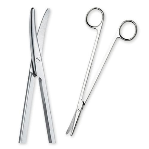 "Econo& Sterile Disposable Metzenbaum 7"" Curved Scissors"