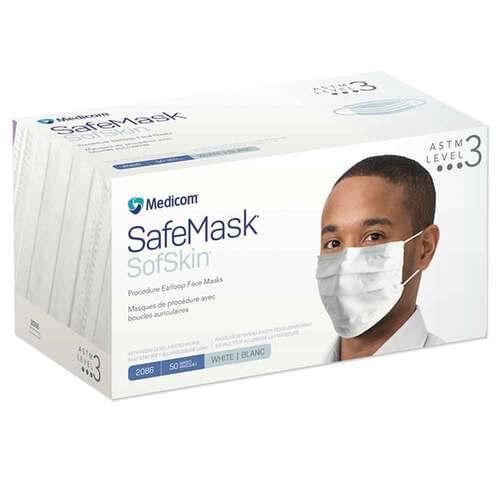 SafeMask® SofSkin® Level 3 Earloop Mask White 50/Box