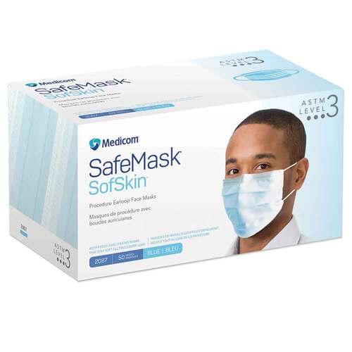 SafeMask® SofSkin® Level 3 Earloop Mask Blue 50/Box
