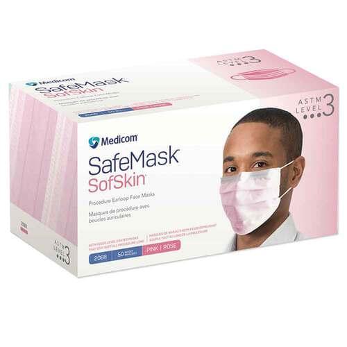 SafeMask® SofSkin® Level 3 Earloop Mask Pink 50/Box
