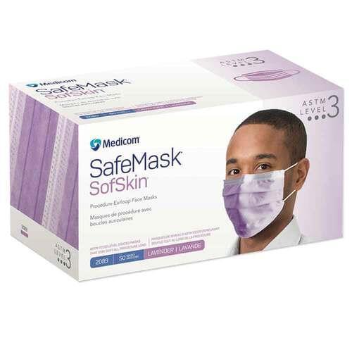 SafeMask® SofSkin® Level 3 Earloop Mask Lavender 50/Box