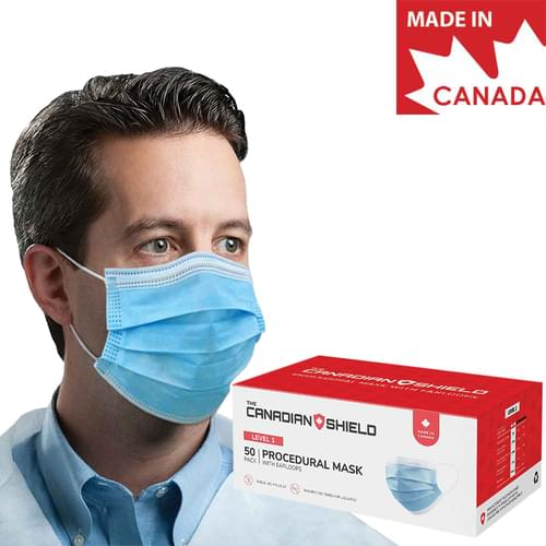 Medical Level 1 Earloop Face Mask 3-Ply With Filter Blue 50/Box
