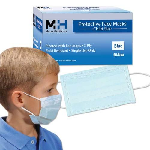 Pediatric Medical Earloop 3-Ply With Filter Face Mask Blue 50/Box