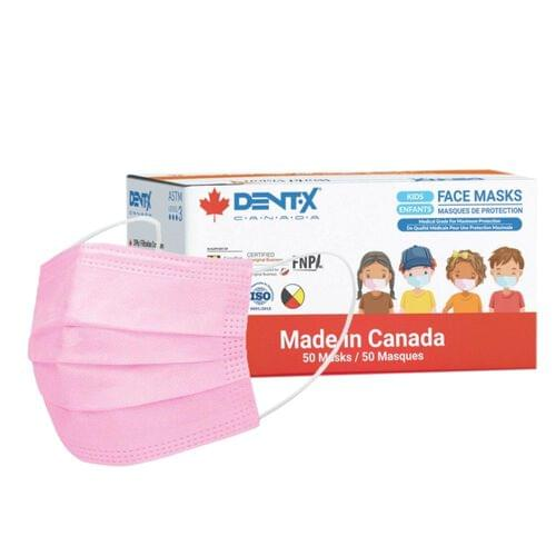 """Dent-X Youth ASTM Level 3 Medical Earloop Face Mask Pink (3.5"""" X 5.75"""") 3-Ply With Filter 50/Box"""