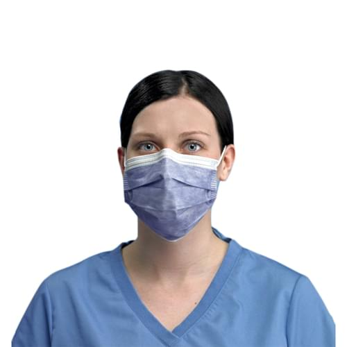 PRIMED PG4-1073 Level 3 Anti-Fog Foam Earloop Face Mask Indigo 3-Ply With Filter 50/Box