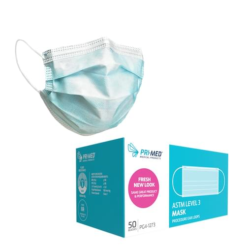 priMED Procedure Earloop Face Mask Level 3 Blue 3-Ply With Filter 50/Box