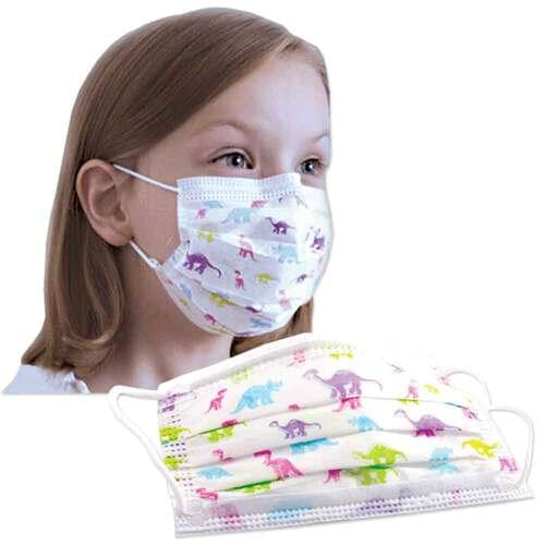 PRIMED PG4-1680 Pediatric Mask Dinosaur Pattern 3-Ply With Filter 50/Box