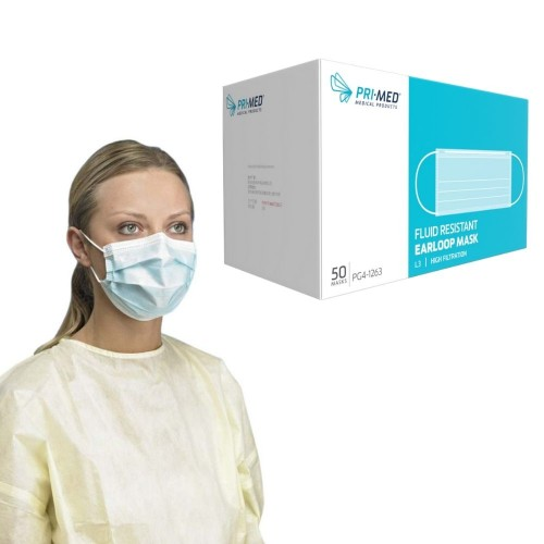PRIMED PG4-1263 Procedure Earloop Face Mask Level 3 Blue 3-Ply With Filter 50/Box 10 Boxes/Case