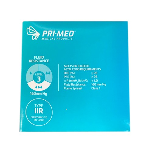 <p>The PRIMED Procedure Earloop Face Mask protects from the spread of potentially harmful droplets generated by symptomatic individuals, as well as protectsboth the patient and clinician from fluids and particlesgenerated during medical procedures.</p> <p>Based on ASTM F2100 standards, this mask provides the highest level of protection during medical procedures. Advanced fluid-resistant and filtration capabilities of the mask provide all-in-one protection for wound care, line changes, and dental work. This mask is recommended for procedures with a high risk of fluid splash when handling trauma or caring for ER and ICU patients.</p> <p><strong>Details</strong></p> <ul> <li>Ultrasonically welded seams <ul> <li>Ensures mask layers remain secure and rest comfortably against the clinician's skin</li> </ul> </li> <li>Wide nosepiece <ul> <li>Constructed with high-quality aluminum to keep the mask in place across the nose and cheekbones</li> </ul> </li> <li>Soft mask and earloop material <ul> <li>Carefully engineered and clinically preferred for extended periods of use without discomfort</li> </ul> </li> <li>Blue</li> <li>50 masks/box</li> <li>3-ply with filter</li> <li>Level 3 barrier</li> <li>BFE (%): ≥ 98</li> <li>PFE (%): ≥ 98</li> <li>ΔP (mmH<sub>2</sub>0/cm²): < 5</li> <li>Fluid Resistance: 160 mm Hg</li> <li>Flame Spread: Class 1</li> </ul>