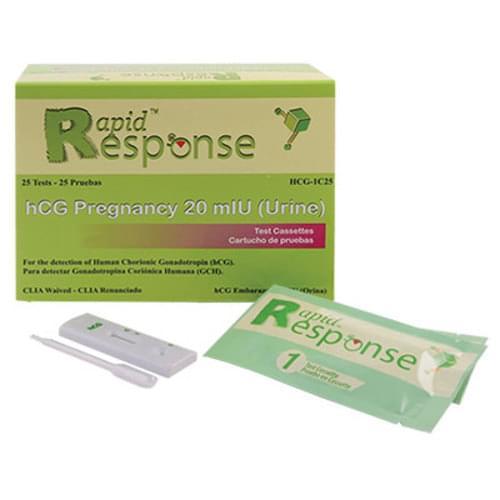 Rapid Response HCG Test, Cassette Style 25/Box