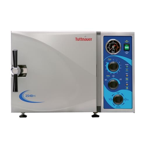 """<p>Tuttnauer manual autoclaves will complement any facility and satisfy all of your sterilization needs. The bright, easy to use panel was designed with the operator in mind. Time tested reliability and durability are built into every Tuttnauer product.</p> <p><strong>Efficient, Space-Saving Powerhouse</strong></p> <div>Packed with features for the fastest, most versatile operation, the 2340M delivers outstanding performance, unmatched safety features and intuitive controls for the most demanding high volume environments.</div> <p><strong>Features:</strong></p> <ul> <li> <div>Automatic shut off at the end of both the sterilization and dry cycles</div> </li> <li> <div>A long life electro polished chamber and door</div> </li> <li> <div>Double safety locking device prevents door from opening while chamber is pressurized</div> </li> <li> <div>Drain valve is located on the front, allowing for quick and easy draining of water reservoir</div> </li> <li>Dual safety thermostat to protect against overheating</li> <li>International certifications</li> </ul> <p><strong>Specifications:</strong></p> <ul> <li>Overall Dimensions (DXWXH):21.5"""" x 20"""" x 14.4"""" (546mm x 508mm x 365mm)</li> <li>Chamber Dimensions: 9"""" x 18"""" (229mm x 457mm)</li> <li>Tray Dimensions:16.3"""" x 6.7"""" x 0.8"""" (414mm x 170mm x 20mm)</li> <li>Chamber Volume: 19 L / 5 Gal</li> <li>Voltage & Frequency: 120V , 50-60Hz</li> <li>Tray Capacity: 3 Trays</li> <li>Standard Cassette Capacity: 2 Full & 2 Half (*Standard full size cassette is 8"""" x 11"""" and standard half size cassette is 8"""" x 5.5"""")</li> <li>Power & Current: 1400W , 12A</li> <li>Warranty: 1-Year Parts and Labor</li> </ul>"""