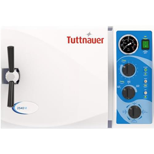 "<p>Tuttnauer manual autoclaves will complement any facility and satisfy all of your sterilization needs. The bright, easy to use panel was designed with the operator in mind. Time tested reliability and durability are built into every Tuttnauer product.</p> <p><strong>Efficient, Space-Saving Powerhouse</strong></p> <div>Packed with features for the fastest, most versatile operation, the 2340M delivers outstanding performance, unmatched safety features and intuitive controls for the most demanding high volume environments.</div> <p><strong>Features:</strong></p> <ul> <li> <div>Automatic shut off at the end of both the sterilization and dry cycles</div> </li> <li> <div>A long life electro polished chamber and door</div> </li> <li> <div>Double safety locking device prevents door from opening while chamber is pressurized</div> </li> <li> <div>Drain valve is located on the front, allowing for quick and easy draining of water reservoir</div> </li> <li>Dual safety thermostat to protect against overheating</li> <li>International certifications</li> </ul> <p><strong>Specifications:</strong></p> <ul> <li>Overall Dimensions: 21.5"" x 20"" x 14.4"" (546mm x 508mm x 365mm)</li> <li>Chamber Dimensions: 10"" x 19"" (254mm x 483mm)</li> <li>Tray Dimensions: 16.3"" x 6.7"" x 0.8"" (415mm x 170mm x 20mm)</li> <li>Chamber Volume: 23 L / 6 Gal </li> <li>Voltage & Frequency: 120V , 50-60Hz </li> <li>Tray Capacity: 4 Trays</li> <li>Standard Cassette Capacity: 3 Full and 3 Half (*Standard full size cassette is 8"" x 11"" and standard half size cassette is 8"" x 5.5"")</li> <li>Power & Current: 1400W , 12A</li> <li>Warranty: 1-Year Parts and Labor</li> </ul>"