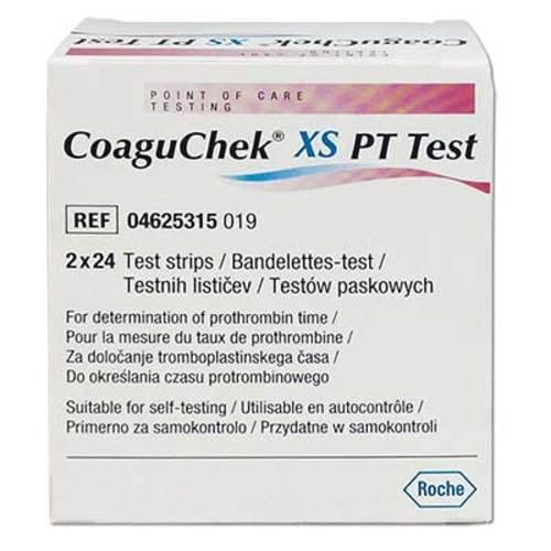 <p>PT/INR testing is done to determine the clotting tendency of blood. Roche Diagnostics developed theCoaguChek® XS System for home and point of care monitoring as an alternative to lab-based methods with remarkable accuracy. Requiring only 8µL of capillary blood to be placed on one of those CoaguChek® XS PT Test Strips will be able to provide you with results within approximately 20 seconds to one minute.</p> <p><strong>Details</strong></p> <ul> <li>For determination of prothrombin time</li> <li>Works with theCoaguChek® XS System</li> <li>Requires 8µL of blood for an adequate test</li> <li>Blood can be placed on the top, right, or left of the strip whichever is the most convenient</li> <li>Strips do not need to be kept refrigerated when stored</li> <li>CoaguChek XS PT Test Strips</li> <li>Box with 2 vials of 24 strips each with a code chip</li> </ul>