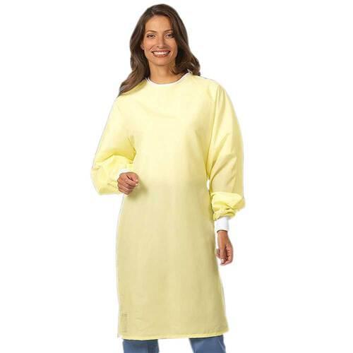 "<ul> <li>Entire garment constructed of single-ply fluid-resistant barrier fabric</li> <li>Two sets of closures (one at the back of the neck, one at waist)</li> <li>White knit cuffs</li> <li>Fashion shield</li> <li>Unisex</li> <li>All-barrier</li> <li>Level 2</li> <li>Up to 75 washes</li> <li>Sweep: 55 1/2""</li> <li>Length: 43 3/4""</li> <li>Sleeve Outseam: 31 1/2""</li> </ul>"