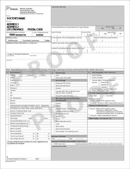 Standard - Ontario Laboratory Requisition Forms