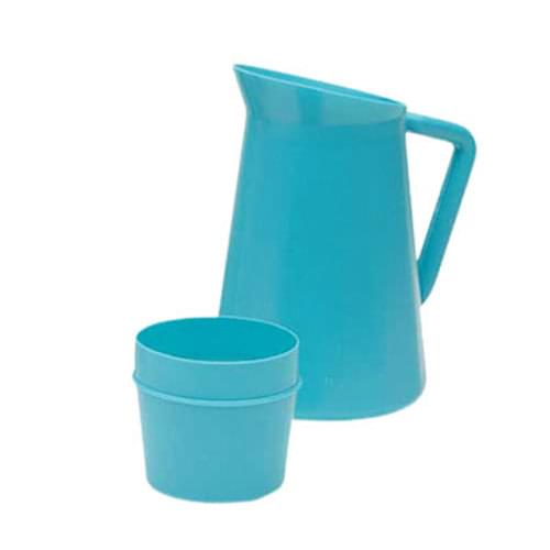 Medical Pitcher With Cup 1 Quart - Blue
