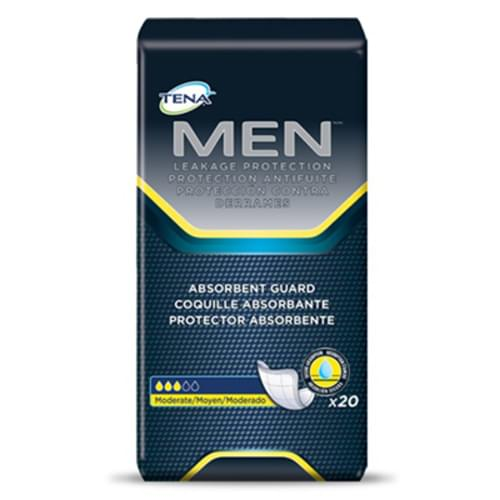 <p>TENA® for Men™ is specifically designed with a cup shape to work perfectly with the male anatomy. An adhesive strip will keep the pad in place and provide discreet and secure protection.</p> <p><strong>Features</strong></p> <ul> <li>Anatomically designed for men <ul> <li>TENA® Men™ provides protection, comfort, and discretion. TENA® Men™ protectors are cup-shaped for the male anatomy to gently follow the movement of the body to provide a secure fit</li> </ul> </li> <li>Ultra absorbent Dry-Fast Core™ for dryness and effective leakage protection <ul> <li>Dry-Fast Core™ ensures dryness and effective leakage protection. This thin protector contains super-absorbent polymer that retains liquid and keeps it locked in</li> </ul> </li> <li>Soft surface for comfort <ul> <li>The soft surface is comfortably gentle against the skin and is also less noisy for discretion and wearer confidence.</li> </ul> </li> <li>Adhesive strip for secure fixation <ul> <li>The adhesive strip helps keep the product securely in place when worn with regular, close-fitting, brief-style underwear</li> </ul> </li> <li>20 pieces/pack</li> <li>6 packs/case</li> </ul>