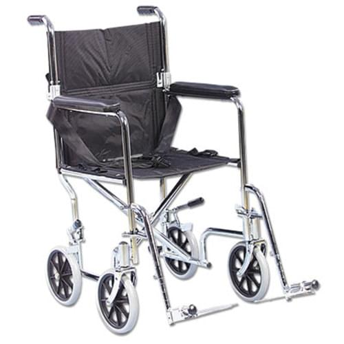 Lightweight and compact, the AMG Transport Chair is almost 50% lighter than conventional wheelchairs (weighing only 13 kg). Features include fold-down back, black nylon upholstery, padded armrests, 8 mag-style wheels with dual locking rear wheels, swing-away removable footrests, and standard safety belt. Easy to fold and convenient to store.  Weight capacity of 250 lb